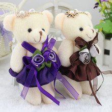 13cm Small Teddy Bear Plush Toys Lovely Floral Joint Bear in Dress Peluche Stuffed Dolls Party Wedding Decor