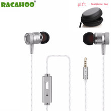 RACAHOO Metal Earphone Stereo Bass Earbud With Microphone In-Ear Earphone For MP3 MP4 OPPO xiaomi Andorid phone(China)