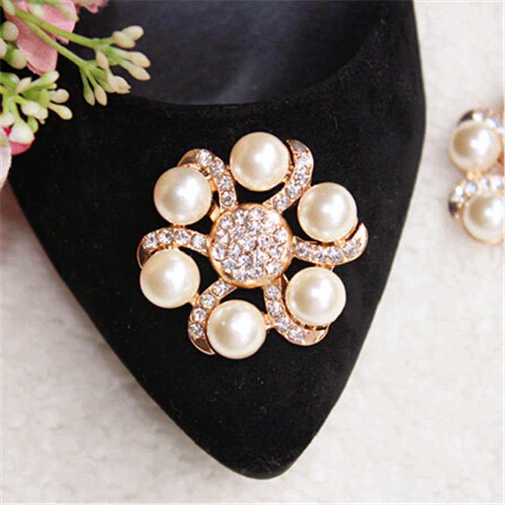 1PC Crystal Rhinestones Shoe Clips Women Bridal Prom Shoes Buckle Decor Kq