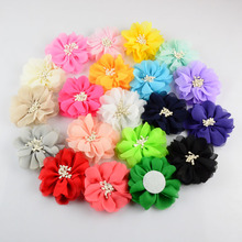 20pcs/lot 20colors 7cm Handmade  Pretty Chiffon Fabric Flower Without Clip For Girls DIY Crafts Hair Accessories