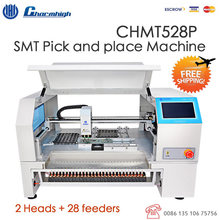 2 heads Table top CHMT528P Advanced SMT Pick and Place Machine + Yamaha Pneumatic Feeder, small batch production LED lighting(China)