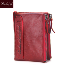 2017 Fashion Genuine Leather Women Wallet Bifold Wallets ID Card Holder Coin Purse With Double Zipper Small Women's Purse Red(China)
