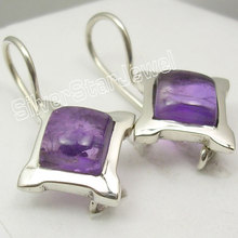 Silver Amethysts Exclusive New Dangle Earrings 2.5CM(China)