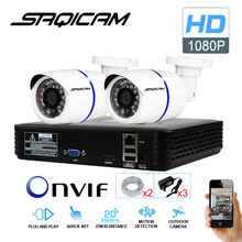 Saqicam 4CH 1080P NVR Kit IP Surveillance Camera System 2PCS HD 2.0MP Waterproof Night Vision Outdoor CCTV Home Security Cameras