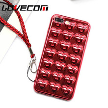 Chinese Red 3D Luxury Electroplate Love Heart Phone Case For iPhone 7 6 6s Plus Cute Lanyard Soft TPU Back Cover Coque Best Gift(China)