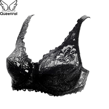 Buy Queenral Big Size Brassiere Sexy Lace Push Bras Women Underwear Lingerie BH Ladies Thin Cup Bra Plus Size DE Underwire