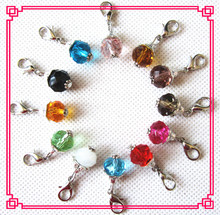 Hot selling 24pcs/lot mix 12 month birthstone crystal dangle charms lobster clasp charms for glass floating lockets(China)