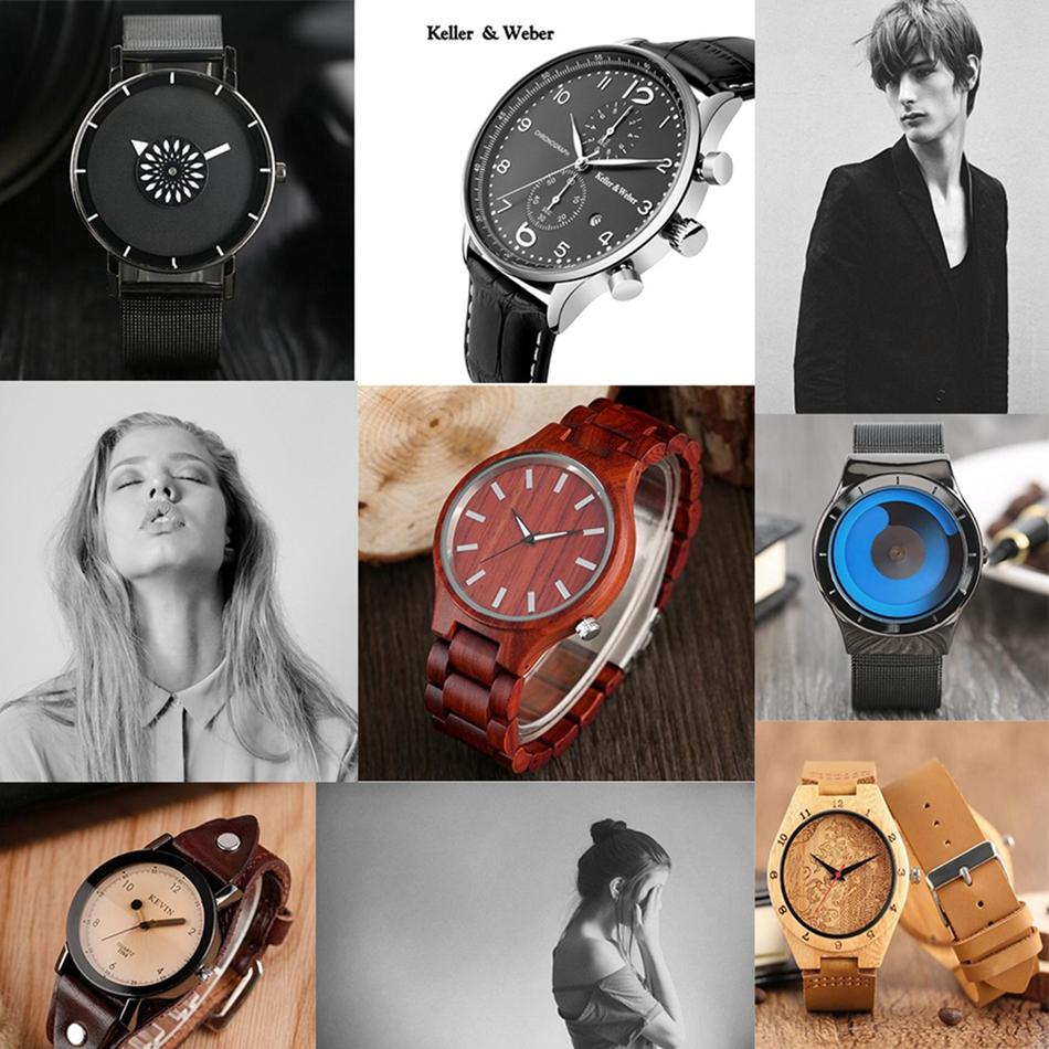 ไม้ไผ่ไม้นาฬิกาข้อมือผู้ชายฉลามแบบหน้าปัดที่ทำด้วยมือไม้สร้างสรรค์ดูผู้หญิงอิน 29