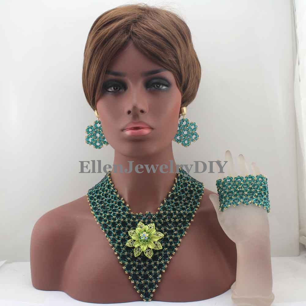 Surprising Peacock Green Beads Women Jewelry Necklace Set Indian Costume Bridal African Statement Jewellery Free Shipping W13334
