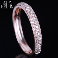 HELON Fashion Jewelry Solid 14k Rose Gold real Diamonds Band Natural Diamond Elegant Cluster Engagement & Wedding Women's Ring