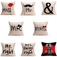 1 Pc Mr Mrs Style Cotton Linen Pillow Covers Pillow Cases Home Only Pillowcase  Pillow Cover Decorative Cartoon Pillow Case