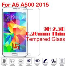 Best Cheap 0.26mm 2.5D 9H Tempered Glass Cristal Phone Mobile Front Film Screen Protector For Samsung Galaxy A5 A500 2015