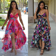 Buy 2016 Summer Beach Maxi Dress Women Printing Sexy Spaghetti Straps V-neck Chiffon Long Dresses Plus Size Halter Backless Vestido for $11.63 in AliExpress store