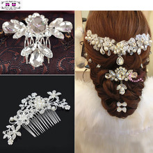 1 PC Bridal Wedding Flower Crystal Rhinestone Hair Clips Comb Pins Headband Diamante haarspangen Hair Jewelry Accessories