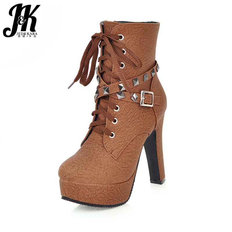 JK Big Size 32-50 Women Boots Rivet Buckle Strap Motorcycle Shoes Woman High Heels Ankle Boots Zip Lace Winter Boots Platform<br>