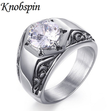 Fashion Eternity Stainless steel Wedding band Ring for men White Rhinestone Vintage style bague homme (can be engraved)
