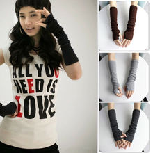 Hot Women Winter Wrist Arm Hand Warmer Knitted Long Fingerless Gloves Mittens #012(China)