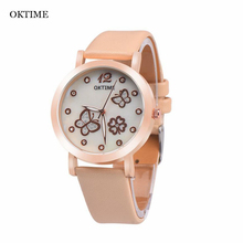 OKTIME Women's Fashion Luminous Leather Analog Quartz WristWatch Women Simple Classic design Crystal butterfly Watch relogio Y25