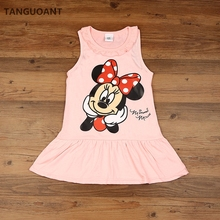 TANGUOANT New 2017 Kids girls clothes cute cartoon Dress, 2 colors of red and pink nice Clothes, lovely baby girls dress(China)