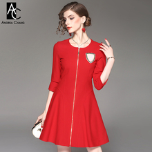 spring autumn woman dress beading brooch dark blue red above knee cotton dress zipper front 3/4 sleeve fashion office cute dress(China)
