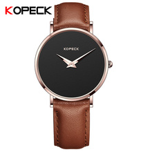 KOPECK Simple Women's Watches Analog Ladies Wrist Watch Clock Stainless Steel Case Brand Women Leather Quartz Watch Montre Femme(China)