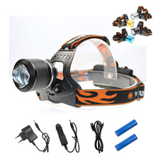 Zoomable XML-T6 Switch Headlamp 3 Modes Self Defense 4 Color Waterproof Bike Lantern Night Working Mining Head Torch Ride Lamps(China)