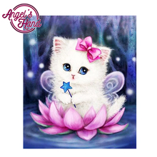 ANGEL'S HAND colorful pictures Round 5D diamond painting Full,cat Diamond Embroidery,DIY, crystal cross stitch(China)