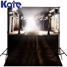Photography Backdrops Glare Street Shadow Children Photo Background Black Night Lights House Photo Studio(China)