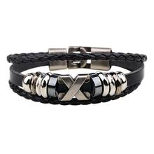 Tomtosh South Korea Fashion Popular Beaded /Wax /Skull /Anchor Rope Stainless Steel Accessories Wrap Bracelet For Men Jewelry