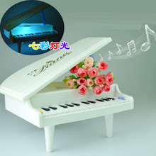 Mini Simulation Piano Toy Pre-school Music Instrument Toy White 14 Scale Colorful lights Musical Piano Toy Early Childhood Educa(China)
