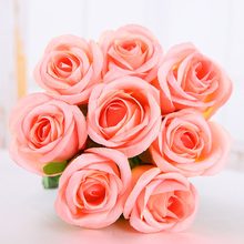 Coral powde Fresh rose Artificial silk Flowers Real Touch  rose Flowers Home decorations for Wedding Party or Birthday Christmas