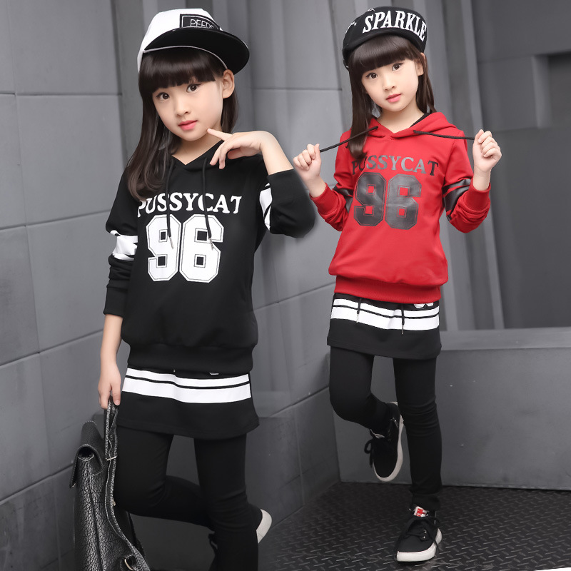 Childrens Active Clothing Girls Tracksuit Autumn Winter Kids Girls Sport Clothes Kids Hooded T-shirt and Pants 2 Pcs Set<br>