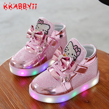 2018 New Spring Autumn Winter Children's Sneakers Kids Shoes Chaussure Enfant Hello Kitty Girls Shoes With LED Light EU 21-30(China)