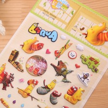 Puffy Stickers Larva Cartoon Anime Sticker For Scrapbooking Laptop Notebook Kids Stickers Funny Toys For Children