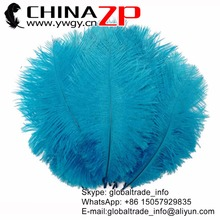 CHINAZP Factory 30-35cm/12-14inch Length 100pcs/lot Good Quality Dyed Blue Ostrich Drabs Feathers