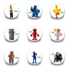 New 9PCS/SET Sesame Street Buttons Badges,30mm Round Cartoon Badges.Bags Travel Accessories Decorations Gifts