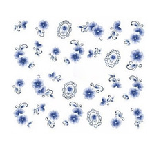 New Arrival Nail Art Water Transfers Stickers Chinese Blue and White Porcelain Image Stickers Water Decal(China)