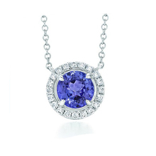 Classic Halo Design Pave Set 1CT Natural Tazanite Pendant Blue Gemstone 14k White Gold Diamond Accents Pendant Necklace Chain
