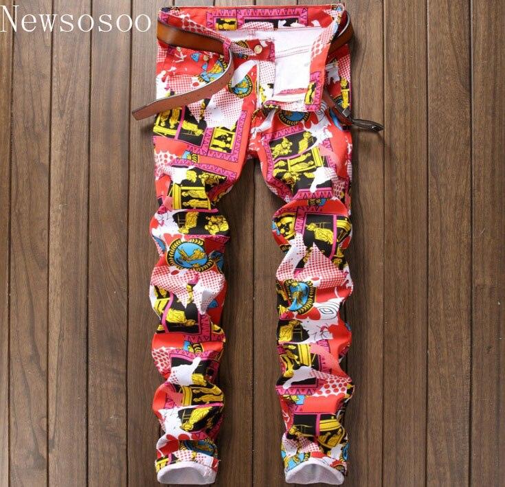 new Nightclub style mens jeans luxury brand men jeans trousers colorful print Slim Straight zipper jeans pants for men pink blueÎäåæäà è àêñåññóàðû<br><br>