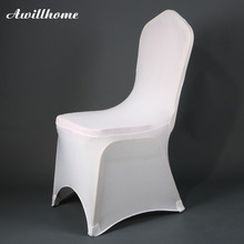 Awillhome 100 Pcs Good Quality White Spandex Stretch Chair Covers For Event Party Wedding Chair Cover(China)