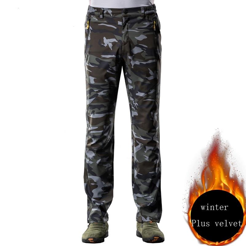 men pants Camouflage green Plus velvet 1686