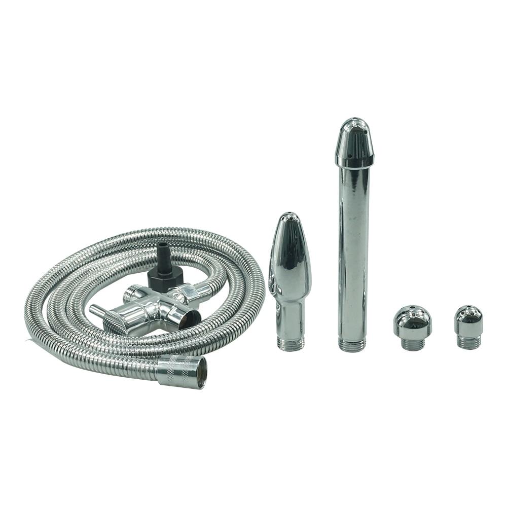 Douche multi function Metal Enema set kit Anus Vagina anal Cleaning 4pcs shower head hose nozzle tip knob syringe plug sex toys<br>