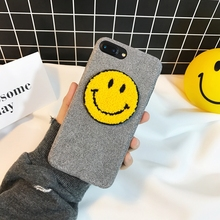 Rugged Plush Hard Case for Iphone X 6 6s 7 8 Plus 3D Cute Lint Smile Emoji Case Cover Korean Popular Woman Lady Phone Cases Back(China)