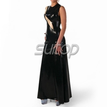 Buy Suitop latex rubber fetish evening long dresses women