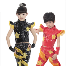 children's Modern hip-hop jazz dance festival performance clothing boys girls unisex five-star leather paint new stage costumes(China)