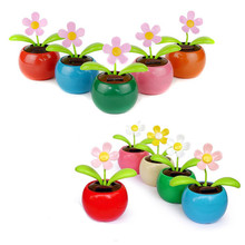 MUQGEW New Colorful Solar Powered Dancing Flower Swinging Animated Dancer Toy Car Decoration Car Solar Flowers Accessories Toys