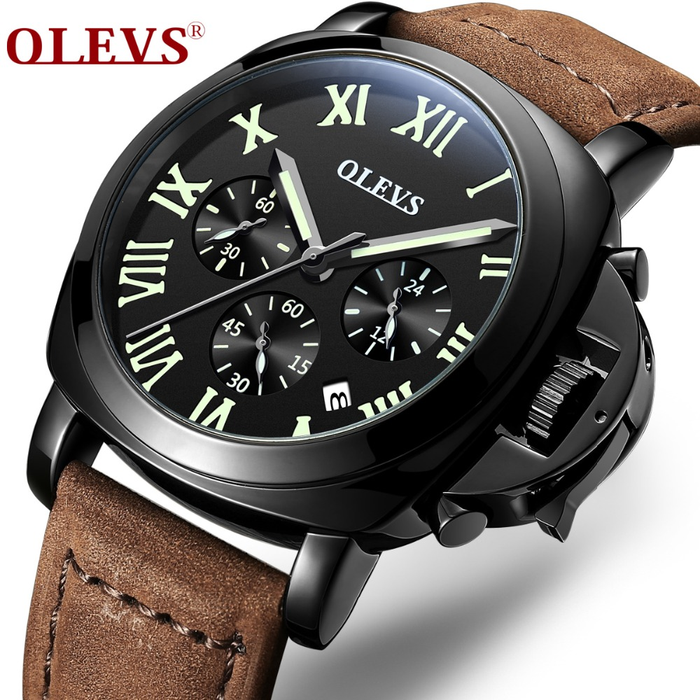 OLEVS Sports Chronograph Watches Top Brand Clock Mens Business Wristwatch Leather Strap Military Wacth relogio masculino M6838<br>