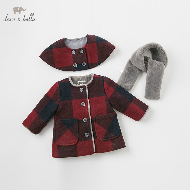 DBM9001 dave bella baby wool jacket chidlren coat with shawl and scarf infant toddler boutique outerwear