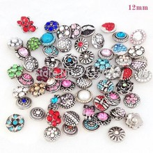 Wholesale 50pcs/Lot Mixed 12mm Metal Snap Buttons For Snap Button Bracelets Necklace Pendant Jewellery Charm Rhinestone Button