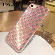 USLION Luxury Glitter Phone Case For iPhone 7 5 5s SE 6 6s Plus Electroplated Shining Soft TPU Cases Back Cover For iPhone7 Plus
